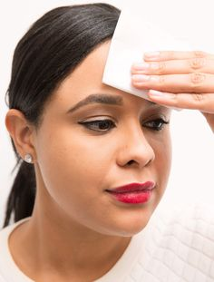An oily T-zone can ruin a good photo. In a pinch, use a toilet seat cover to dab up the extra shine.  To see a full article on this technique, click here.   - GoodHousekeeping.com