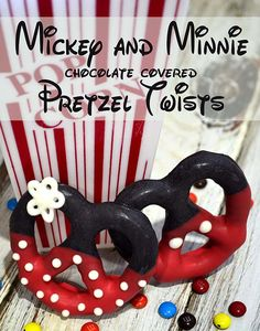 Mickey and Minnie chocolate covered pretzel twists - This is so cute!! Try them with the larger pretzels!