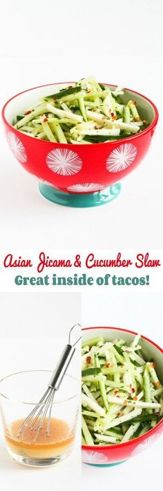 Asian Jicama and Cucumber Slaw…Awesome tucked inside of tacos! 40 calories and 1 Weight Watchers Freestyle SP
