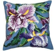 Collection d'Art:5.050 - Iris Mauve - Easy to stitch large count cross stitch cushion kit - On Sale Now - 40% Discount - Original Retail Price $40.00