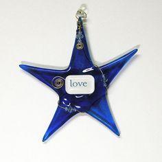 LOVE Handmade Christmas Ornament/ Cobalt Blue by SusanFayePetProjects #fusedglass #handmade #Christmas #ornament