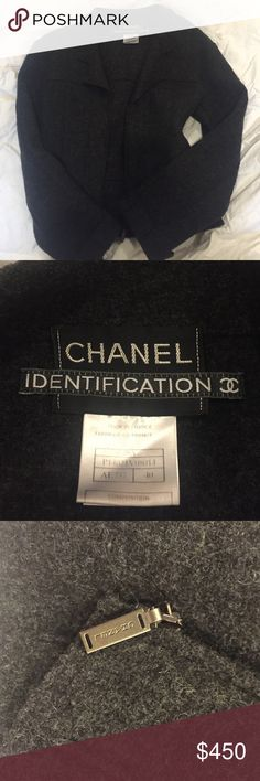 CHANEL 100% gray wool coat Sz 40 AUTHENTIC CHANEL and priced to sell! Made in France, size 40z. Chanel logo zipper. Gray wool coat, very warm and classic. CHANEL Jackets & Coats