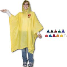 """You won't want to take a """"rain check"""" on this promotional item! Be prepared for the storm with this lightweight Promo Poncho. This budget boosters adult PVC rain poncho is 100% waterproof and includes 52"""" x 86"""" coverage and a roomy hood. Available with one color imprint only, choose a color that best suits your marketing campaign. One size fits most adults. A great giveaway item for trade shows and conventions, invest today! Rain Poncho, Hooded Poncho, Cool Suits, Suits You, Waterproof Poncho, Company Picnic, Ny Usa, Trade Show, Ponchos"""