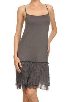 Grey adjustable spaghetti strap dress orslip can be worn by itself or as a layering piece. It is a lightweight sheer T-shirt feel with a beautiful layered contrast bottom. This is a year a round piece!   Layered Slip Dress by Mystree. Clothing - Dresses - Casual Boston, Massachusetts