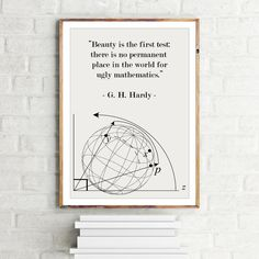 Math Poster G.H. Hardy quote Beauty in Mathematics - Science Art / Mathematical / Physics / Scandinavian Design Wall Art Minimalist