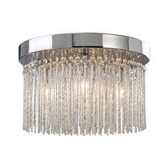 "Canarm IFM454A15CH9 Monaco 4 Light Crystal Flush Mount, 15""w x 9""h, 4 x 40w"