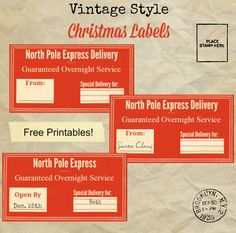 Vintage Christmas Gift Tags, Labels and Stickers Printables - Knick of Time