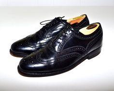 Make an Offer FLORSHEIM Vintage Black Leather Wingtip Brogues Oxfords Dress Shoes Mens 8 E 8E Like Alden & Allen Edmonds