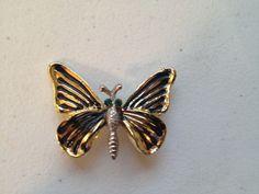 Vintage BROOCH PIN Gold Tone BUTTERFLY Rhinestone Black Enamel Costume Jewelry #Brooch