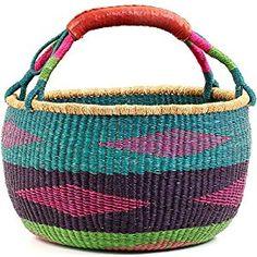 "Amazon.com: Fair Trade Ghana Bolga African Market Basket 14-16"" Across, #59069: Home & Kitchen"