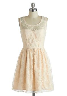 Lily of the Valley Dress - Pastel, Mid-length, Pink, Tan / Cream, Crochet, Embroidery, Daytime Party, A-line, Tank top (2 thick straps), Scoop, Graduation, Bride