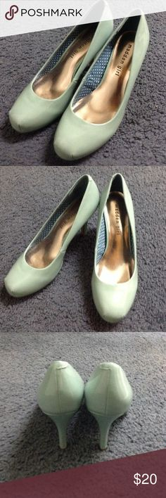 Madden Girl Getta Pumps in light mint. Size 6.5 Beautiful patent pumps in light mint. Size 6.5. Only worn once for a short time, so there is minimal wear on the soles. Madden Girl Shoes Heels