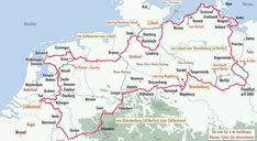 ronde van 3100 km. in 3 delen van bikeline. Camper, Motorcycle Travel, Cycling Art, Travel Maps, Camping Life, Outdoor Life, Van Life, Trip Planning, Touring