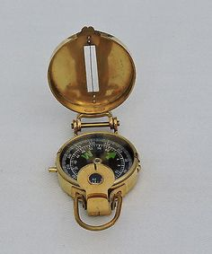 Brass Military Compass Vintage Collectible & Nautical Decor