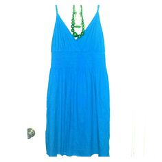 Blue Dress New Blue Spaghetti Strap Popcorn Waist Dress Size 2XL Jewelry not included...Go head be that devil with the blue dress on...LOL  Dresses