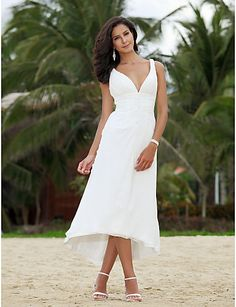 A-line V-neck Asymmetrical Tea-length Chiffon Wedding Dress - USD $ 97.49