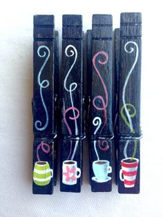 COFFEE or TEA CUPS clothespins hand painted magnets retro black by SugarAndPaint on Etsy