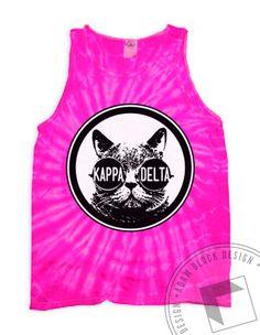 Kappa Delta - Tie Dye Cat Tank (Pink Spider) by ABD BlockBuy! Adam Block Design | Custom Greek Apparel & Sorority Clothes |www.adamblockdesign.com