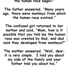 A little girl asks her mother and father how the human race came to be - her mother's answer is priceless... - latest joke