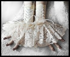 Arm Warmers - Ivory & White Corset Laced Up Cuffs