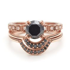 Tiny Wheat Engagement Set In Black Diamond Rose Gold With White Diamonds Anna Sheffield Jewelry