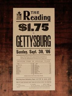 Letterpress Reproduction of Reading Railroad Excursion Poster to Gettysburg. $35.00, via Etsy.