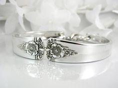 @etsy $27.50  Spoon Bracelet, Spoon Jewelry, Silverware Jewelry, Silverware Bracelet, Vintage Wedding, Silver Bracelet -1950 SPRING CHARM