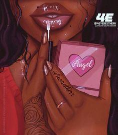 GRWM 👄💅🏿 What's your favourite brand of lipgloss? Black Love Art, Black Girl Art, Art Girl, Black Art Painting, Black Artwork, Drawings Of Black Girls, Art Et Design, Natural Hair Art, Black Girl Cartoon
