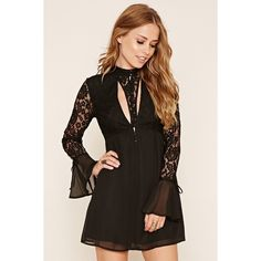 Forever21 Floral Lace Dress ($23) ❤ liked on Polyvore featuring dresses, black, long cocktail dresses, long floral dresses, long lace dress, lace dress and lace cut out dress