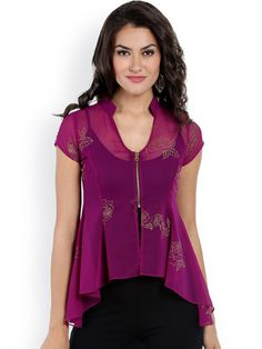 57750760f3bb0 Ira Soleil Purple Floral Print Sheer High-Low Top  Purple woven floral  print top