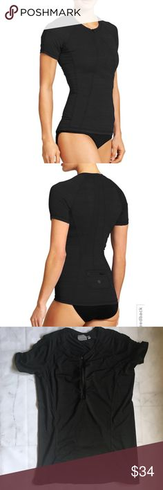 "Athleta Pacifica Large Tall UPF Tee 2 Black Performance-fitted without being too tight, this top made from UPF 50+ rated fabric is sleek, wicking and Unstinkable for long days out on the water. INSPIRED FOR: swim/surf/paddle, beach To Fro, run Half-zip front for ventilation when you need it Raglan sleeves give you room to move, rear zip pocket stashes your stuff   Fitted Sits next to skin without being too tight Approx 27"" long.   Excellent pre-owned condition no rips holes or stains. NOTE…"