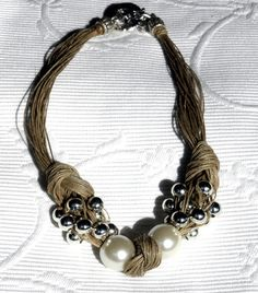 Necklace natural linen thread knots resine pearls silver metal pearls #jewelryinspo #jewelrymaking #cbloggers