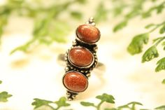 Large gold sandstone or red goldstone oval cabochon cut natural polished healing stone silver plated size 8.5 ring
