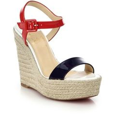 Christian Louboutin Spachica Patent Leather Espadrille Wedge Sandals