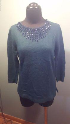 J.Crew Dark Teal Wool Rabbit Hair Blend Black Jeweled Back Zip Sweater XS Euc #JCrew #Crewneck #daystarfashions $29