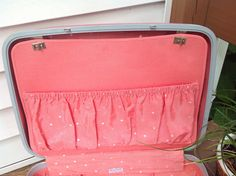 Ladies pink vintage suitcase, ladies Samsonite Silhouette luggage, hot pink hard shell luggage, suitcase with divider, polka dotted suitcase by SusieQsRetroShop on Etsy https://www.etsy.com/listing/474810720/ladies-pink-vintage-suitcase-ladies