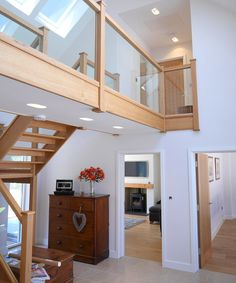 Modern hallway with white walls and timber staircase. Building a house, by Potton, Self-Build Specialists Timber Staircase, Staircase Design, Staircase Ideas, Modern Hallway, Modern Stairs, Self Build Houses, Design Your Own Home, Build Your Own House, Dream House Interior
