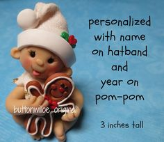 Gingerbread Baby's 1st Christmas Ornament / Babys by Buttonwilloe, $25.00