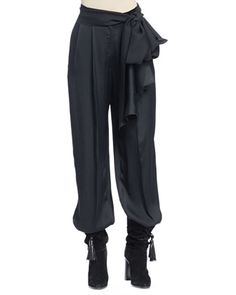 Lanvin full-leg fluid, draped pants. Banded waist; self-tie. Pleated-front, relaxed full-legs. Viscose/silk. Made in Italy.