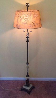 Vtg Art Deco Shade Vaseline Houze Onyx Cast Iron Dual Cluster Lamp ...