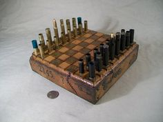 Mini  BULLET SHELL  Steampunk Chess Set 8 by OldeWorldCC on Etsy