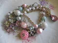 April Flowersvintage assemblage bracelet by originalnoell on Etsy, $40.00