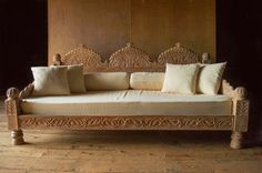 Carved Whitewashed Indian Day Bed