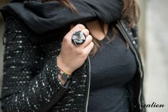 anello in fimo e base metallica regolabile