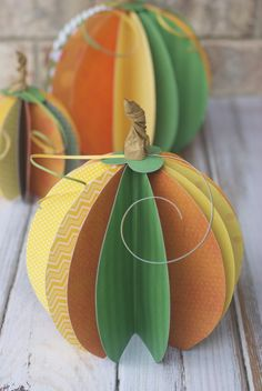 DIY Paper Pumpkins (Autumn Market Party Hop) - could be cut out with a Silhouette very easily!