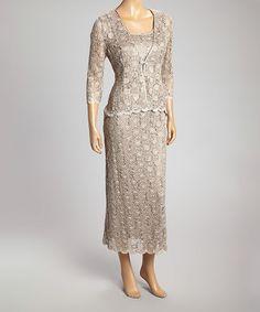 Love this Mocha Lace Sleeveless Dress & Jacket - Women & Plus by R&M Richards on #zulily! #zulilyfinds