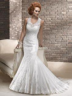 Mermaid Tüll und verschönert Lace Brautkleid mit Schlüsselloch Rücken $441.5 Hochzeitskleider