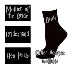 £2.50 Black Wizard Harry Potter style Womens Socks - Bride, Bridesmaid, Hen Party etc.