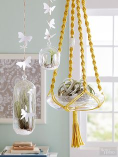Yet another revived product of the retro '60s and '70s is macrame. Today we see this woven, knotted rope finish on things like hanging planters, wall-mounted textiles, and even pieces of jewelry. (And not a scary owl in sight!) While you can buy readymade pieces, you can get the look at home using your own two hands./