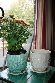 Matching McCoy Planters one in a mint green and the by TheTownies, $80.00